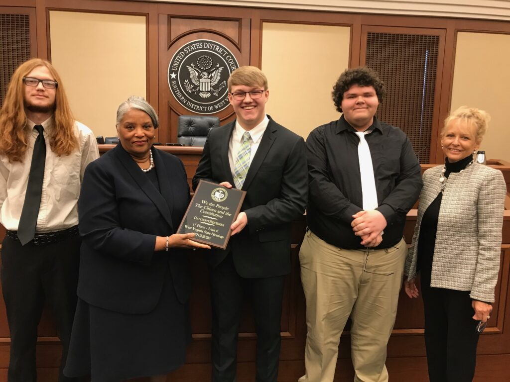 "Jefferson Hymer, Nicholas Evans, Judge Irene Burger, Austin Smith, and the ""We the People"" State Director"